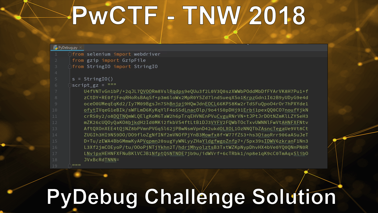 PwCTF – TNW 2018 – PyDebug Challenge Solution